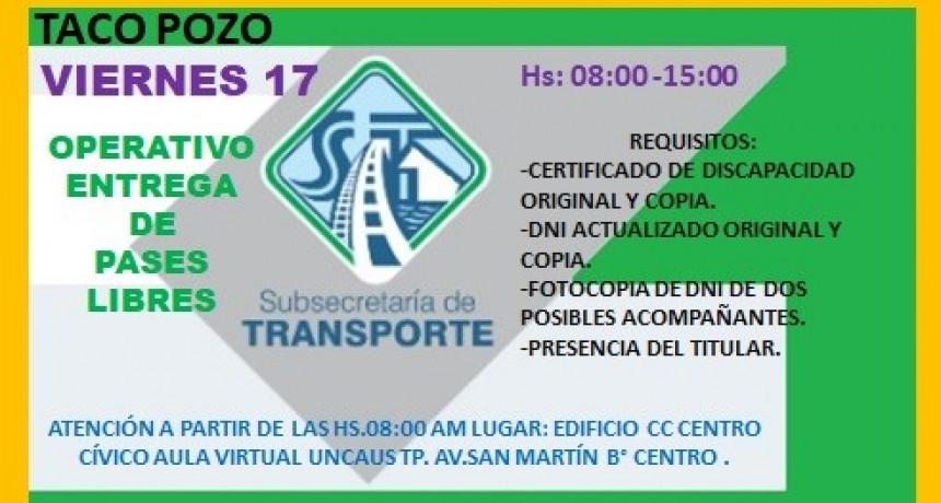 ESTE VIERNES 17   ENTREGA DE PASES LIBRES SUBE