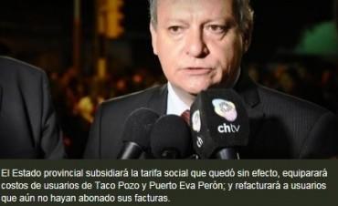 Peppo: Nos haremos cargo de la tarifa social que perdió la provincia por la cautelar