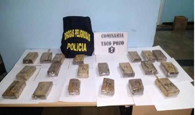 Encontraron un bolso con casi 7 kilos de marihuana y atraparon a un joven vendiendo cocaína
